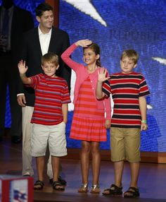 Paul Ryan's kids get a view from the stage at the RNC (Photo: Mike Segar / Reuters) #NBCPolitics