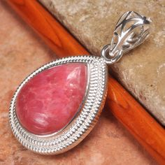 Checkout this amazing deal Rhodochrosite Pink Agate Gemstone Pendant with 925 Silver Chain,$12.5