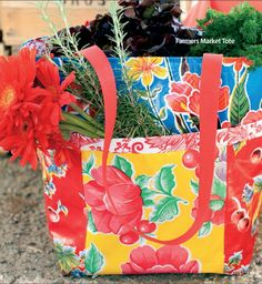 Farmer's Market Tote: sewing with oil cloth Bag Pattern Free, Tote Pattern, Bag Patterns, Sewing Patterns, Sewing Crafts, Sewing Projects, Diy Crafts, Sewing Tips, Sewing Tutorials