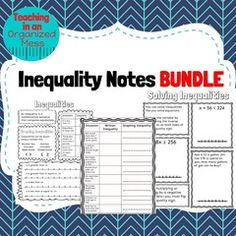 Solving One Step Inequalities Word Problems Puzzle from Teaching in an Organized Mess on TeachersNotebook.com (18 pages)