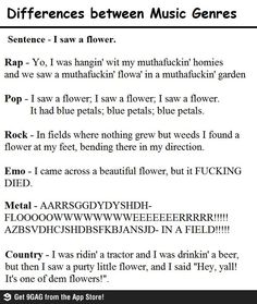 Difference between Music Genres, I'm crying from laughter hahahaha