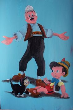 Geppetto, Figaro and Pinocchio by billywallwork525 on DeviantArt
