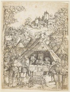 The banquet by Albrecht Altdorfer - German, 16th century - People eating at tables under tents