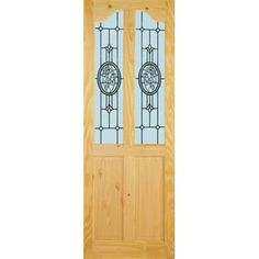 Image of Brittany Semi Clear Pine Door - Arctic Rose Safety Glass