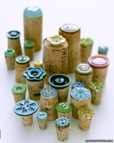 stamps made of buttons on corks - glue gun and done...
