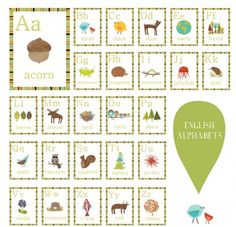 Nature Alphabet Wall Cards. http://www.childreninspiredesign.com/content/nature-alphabet-wall-cards