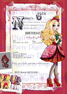 Apple White EVER AFTER HIGH Birthday Invitation and by DigiParty, $9.99