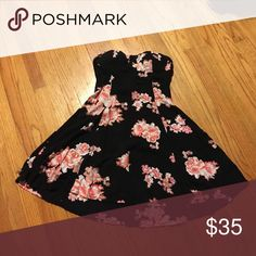 Strapless mini dress. Black with pink and white floral print. Only worn a few times. Great condition. Removable padding. American Eagle Outfitters Dresses Mini