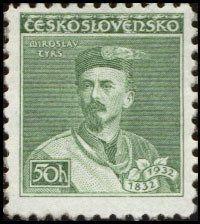Znaczek: Miroslav Tyrš (Czechosłowacja) (Personalities) Mi:CS 314,Sn:CS 187,Yt:CS 277,AFA:CS 178,POF:CS 268