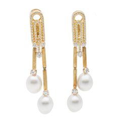 Henry Dunay Pearl Diamond Gold Earrings | From a unique collection of vintage dangle earrings at https://www.1stdibs.com/jewelry/earrings/dangle-earrings/
