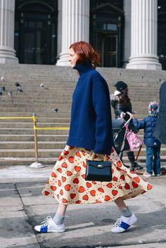 Polo Neck + Midi Skirt | Street Style #StreetStyle