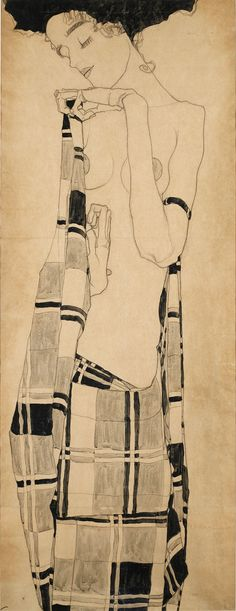 Egon Schiele (Austrian.), Gerti Schiele in a Plaid Garment, c. 1909. Charcoal and tempera