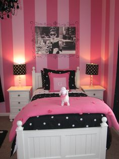 Smart Idea To Inspire Beautiful Painting In The Room Teenage Girl. Trendy Teenage Girls Bedroom Painting Ideas Featuring Pink Striped Bedroom Wall Paint And Black And White Photograph Idol As Wall Hangings Plus White Twins Nightstand Together Pink Bedrooms, Teenage Girl Bedrooms, Girls Bedroom, Woman Bedroom, Bedroom Themes, Bedroom Wall, Bedroom Decor, Bedroom Ideas, Bedroom Inspiration