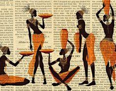 African Print Decor African Women Art Print by FineArtCenter, Art Mural, Mural Painting, Costume Africain, Afrique Art, African Art Paintings, Newspaper Art, World Map Wall Art, Art Africain, Black Artwork