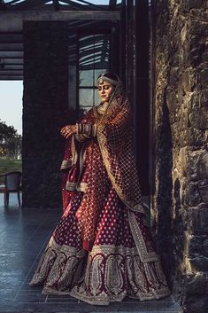 These Maroon Bridal Lehengas Are The New Bridal Color That You Must Consider. For more such bridal information, visit shaadiwish. Indian Bridal Outfits, Indian Bridal Fashion, Indian Bridal Wear, Bridal Dresses, Bridal Lenghas, Wedding Lehanga, Indian Dresses, Party Dresses, Latest Bridal Lehenga