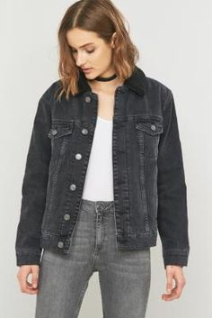 BDG Oversized Western Sherpa Black Denim Jacket