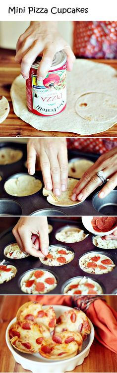 Use can to cut tortilla, spray muffin pan, place cut tortillas in pan. Too with pizza toppings bake 350 for about 8 minutes. Perfect size for kids and those needing portion control!