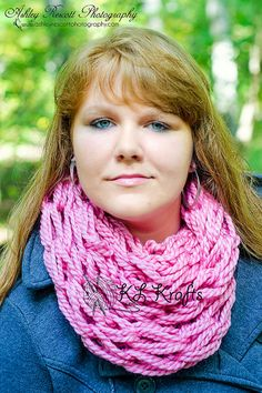 Pink Chunky Arm Knit Infinity Scarf Arm Knitted by KimLKrafts