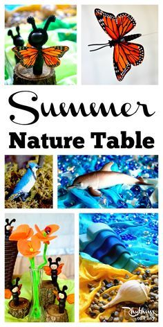 A summer nature table is a space in the home used for placing natural items that reflect the season. It is meant to be explored, played with, and used as a way to study nature in the home. Nature tables are wonderful for sensory and imaginative play, and are often used in Montessori and Waldorf education.