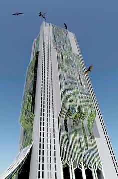 Skyscraper Cemetery. The Moksha Tower, designed for Mumbai, India, reduces land needed for burials while creating new CO2-absorbing urban green space. Different floors of the building accommodate the burial traditions of Hindus, Muslims, Christians, and Parsis—so that many can rest in green peace.