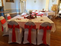 Red Sashes & White Chair Covers