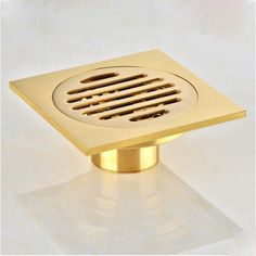 "Gold Finish   Square Bathroom 4"" Floor Drain Waste Drain - ICON2 Luxury Designer Fixures  Gold #Finish # # #Square #Bathroom #4"" #Floor #Drain #Waste #Drain"