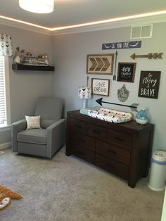 My baby boy's nursery. Woodland adventure theme nursery. Gallery wall Baby boy nursery  Adventure nursery