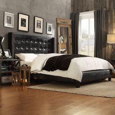 Homelegance Camrose Wingback Upholstered Platform Bed, Size: King - 315BK-1PU[BED]PL