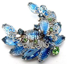 Vintage Juliana Brooch Ribbed ART GLASS And by ALLUWANTISHERETODAY, $45.00
