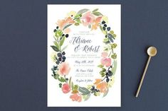 """""""Watercolor Wreath"""" - Floral & Botanical Wedding Invitations in Grapefruit by Yao Cheng."""