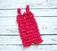 Valentine's Day, Hot Pink Ruffle Petti Romper from Sparkle and Coo on Etsy