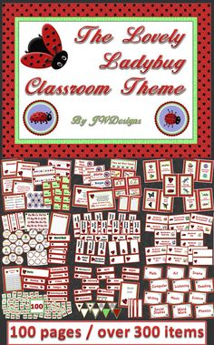 The Lovely Ladybug Classroom Theme bundle - such a cut way to get organized!  Everything you need for a coordinated, well managed, classroom!  Name plates, Posters, table tags, labels, pennants, calendar, classroom jobs, hall passes and so much more.