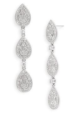 Nadri Crystal Teardrop Linear Earrings  $90