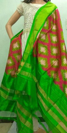 Elegant Ikkath Silk Dhupattas | Buy Online Ikkath Dhupatta At best prices | Pochmapally Handloom Dhupattas | Elegant Fashion Wear