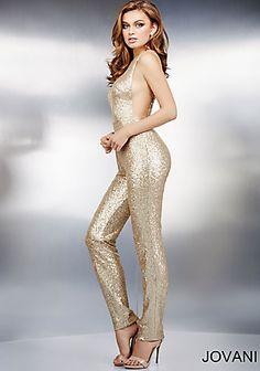 Gold Embellished Jumpsuit 37552