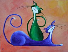 """Original Cat Painting for Sale : Fantasy Cats """"Two Merry Cats"""""""