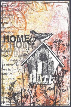 "Card ""Home"" with Brushos and Carabelle Stamps"
