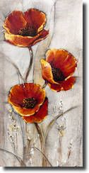 Red Poppies on Taupe I Art Print