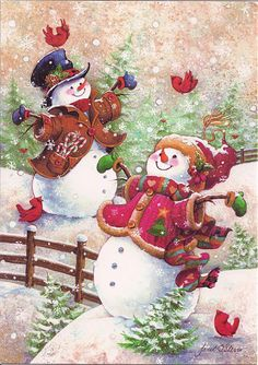 Christmas art, snowman art by renowned painter Janet Stever. Christmas Scenes, Vintage Christmas Cards, Christmas Pictures, Christmas Snowman, Vintage Cards, Winter Christmas, Christmas Holidays, Christmas Crafts, Merry Christmas