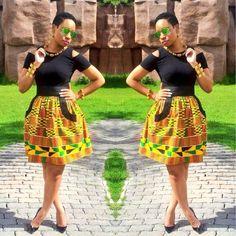 NEW African Skirt  African print Kente Skirt  Ankara by Zoharous