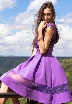 Purple Patchwork Grenadine Pleated Round Neck Short Sleeve Elegant Mini Dress