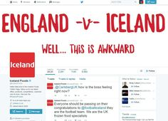 Very clever bit of opportunistic advertising from Iceland before the match against England! Football Ads, Clever Advertising, Very Clever, Be The Boss, Awkward, Iceland, Messages, Marketing, Feelings