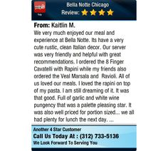 We very much enjoyed our meal and experience at Bella Notte. Its have a very cute rustic,...