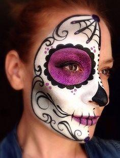 l Sugar Skull Halloween, Halloween Make Up, Halloween Face Makeup, Vintage Halloween, Sugar Skull Face Paint, Sugar Skull Makeup, Maquillage Sugar Skull, Day Of Dead Makeup, Make Up Gesicht