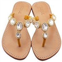 Jeweled Flat Sandals by Mystique   Genuine Leather Flat Jeweled Sandal