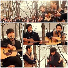 [K-MOVIE]Actors in a new movie C'EST SI BON sang on HONG DAE Street as a special event.