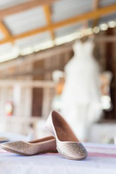 Rock some rhinestone flats for comfy wedding day style with a touch of glam! {@marilbray}