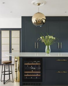 Add metalic elements to really enhance and contrast to dark painted cabinetry for an elegant finishing touch. Custom Made Furniture, Furniture Making, Home Furniture, Wine Cabinets, Oak Cabinets, Round Kitchen Island, Glass Extension, Led Panel Light, Shaker Kitchen