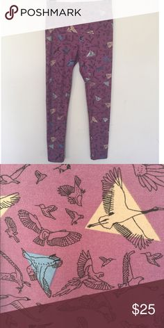 LuLaRoe OS Bird Leggings- BNWT lowest price Never worn Brand New Fall muted purple LuLaRoe bird leggings. Perfect with Fall booties. Unicorn print. LuLaRoe Other