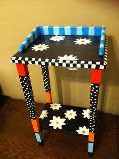 Whimsical Funky hand painted wood side table